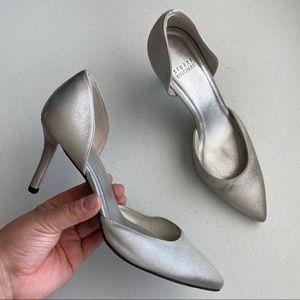 Stuart Weizmann Silver Canvas Pointed-Toe Stiletto